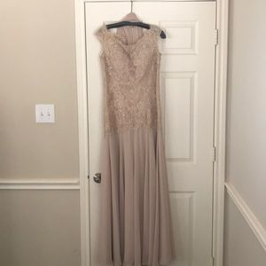 Mon Cheri embellished blush gown